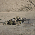 German Soldier Firing A Barrett M82a1 by Terry Moore