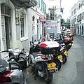 Gibraltar Motorcycle Bike Row Side Street by John Shiron