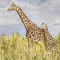 Giraffe And Calf by Grace Ashcraft