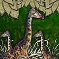 Giraffes In A Golden Forest by Michael Hurwitz