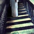 Girl In Nightgown On Steps by Jill Battaglia