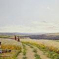Girl In The Fields   by Jean F Monchablon