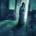 Girl With Candle In Doorway by Jill Battaglia