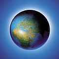 Globe On Blue Background by Photodisc