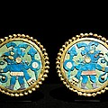Gold Ear Ornaments, Moche Florescent by Tony Camacho