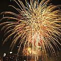 Golden Fireworks Over Minneapolis by Heidi Hermes