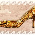 Golden Floral Royalty Shoe by Elaine Plesser