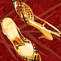 Golden Lattice Slingbacks On Royal Red Carpet by Elaine Plesser