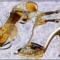 Golden Studded Stilettos by Elaine Plesser