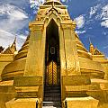 Golden Stupa Front View Bangkok by Charuhas Images