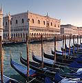 Gondolas Docked Outside Of Piazza San by Jim Richardson