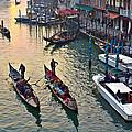 Gondolieri At Grand Canal. Venice. Italy by Juan Carlos Ferro Duque