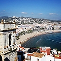 Gorgeous Panoramic View Of Peniscola Castle Bell Tower And Mediterranean Beach In Spain by John Shiron