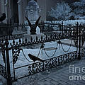 Gothic Surreal Night Gargoyle And Ravens - Moonlit Cemetery With Gargoyles Ravens by Kathy Fornal