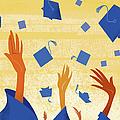 Graduates Throwing Graduation Hats by Harry Briggs
