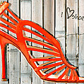 Graffiti Orange Cage Stilettos by Elaine Plesser