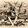 Granny Sitting On A Bench Knitting Ursinus College by Bill Cannon