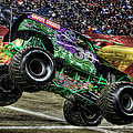 Grave Digger At Ford Field Detroit Mi by Nicholas  Grunas