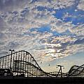 Great White Roller Coaster - Adventure Pier Wildwood Nj At Sunrise by Bill Cannon