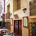 Greek Restaurant Cafe Entrance And Menu In Nafplion Greece by John Shiron