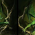 Green Dragon - Gently Cross Your Eyes And Focus On The Middle Image by Brian Wallace