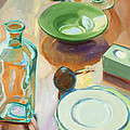 Green Glass And Plates by Maralyn Adlin