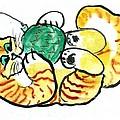Green Ornament - Holiday Cat 20 by Ellen Miffitt