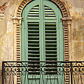 Green Shutters And Balcony In Verona by Greg Matchick