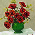Green Vase Red Poppies by Susan McLean Gray