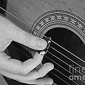 Guitar Playing Black And White by Michael Waters