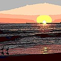 Gulls Enjoying Beach At Sunset by George Pedro