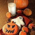 Halloween Cookies With A Glass Of Milk by Sandra Cunningham