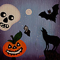 Halloween Night Original Acrylic Painting Placemat by Georgeta  Blanaru