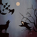 Halloween Night Party Original Painting Placemat Doormat by Georgeta  Blanaru