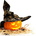 Halloween Pumpkin With Witches Hat by Amanda Elwell