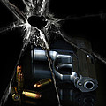Handgun Bullets And Bullet Hole by Jill Battaglia