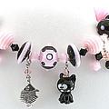 Handmade Glass Lampwork Black And Pink Cat Bracelet by  Chelsea  Pavloff