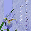 Happy Birthday Greeting Card - Blue Flag Iris Wildflower by Mother Nature