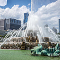 Hdr Picture Of Buckingham Fountain And Chicago Skyline by Paul Velgos