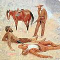 He Lay Where He Had Been Jerked Still As A Log  by Frederic Remington