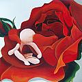 Healing Painting Baby Sitting In A Rose by Catt Kyriacou