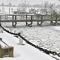 Heavy Snow Falls At Sandwich Marina In Sandwich On Cape Cod by Matt Suess