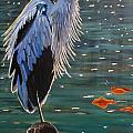 Heron In Blue by Janet McDonald