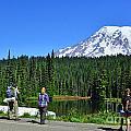 Hikers At Reflection Lake by Jack Moskovita