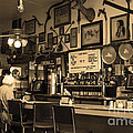 Historic Niles District In California Near Fremont . Bronco Billys Pizza Palace . 7d10707 . Sepia by Wingsdomain Art and Photography