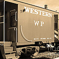 Historic Niles District In California Near Fremont . Western Pacific Caboose Train . 7d10627 . Sepia by Wingsdomain Art and Photography
