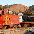 Historic Niles Trains In California . Old Southern Pacific Locomotive And Sante Fe Caboose . 7d10843 by Wingsdomain Art and Photography
