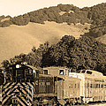 Historic Niles Trains In California.southern Pacific Locomotive And Sante Fe Caboose.7d10819.sepia by Wingsdomain Art and Photography