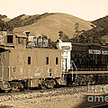 Historic Niles Trains In California.southern Pacific Locomotive And Sante Fe Caboose.7d10843.sepia by Wingsdomain Art and Photography
