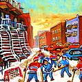 Hockey Art Kids Playing Street Hockey Montreal City Scene by Carole Spandau